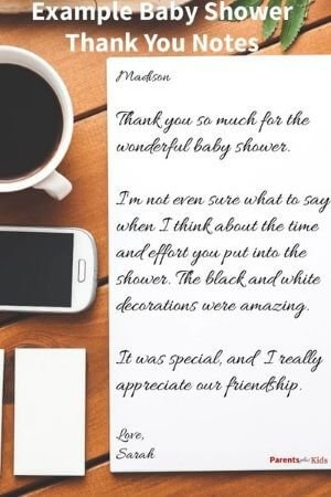 a baby shower thank you note written out