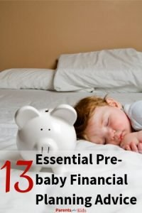 a child sleeping words written baby financial planning advice