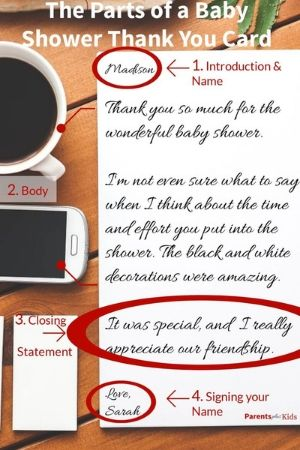 the parts of a baby shower thank you card template
