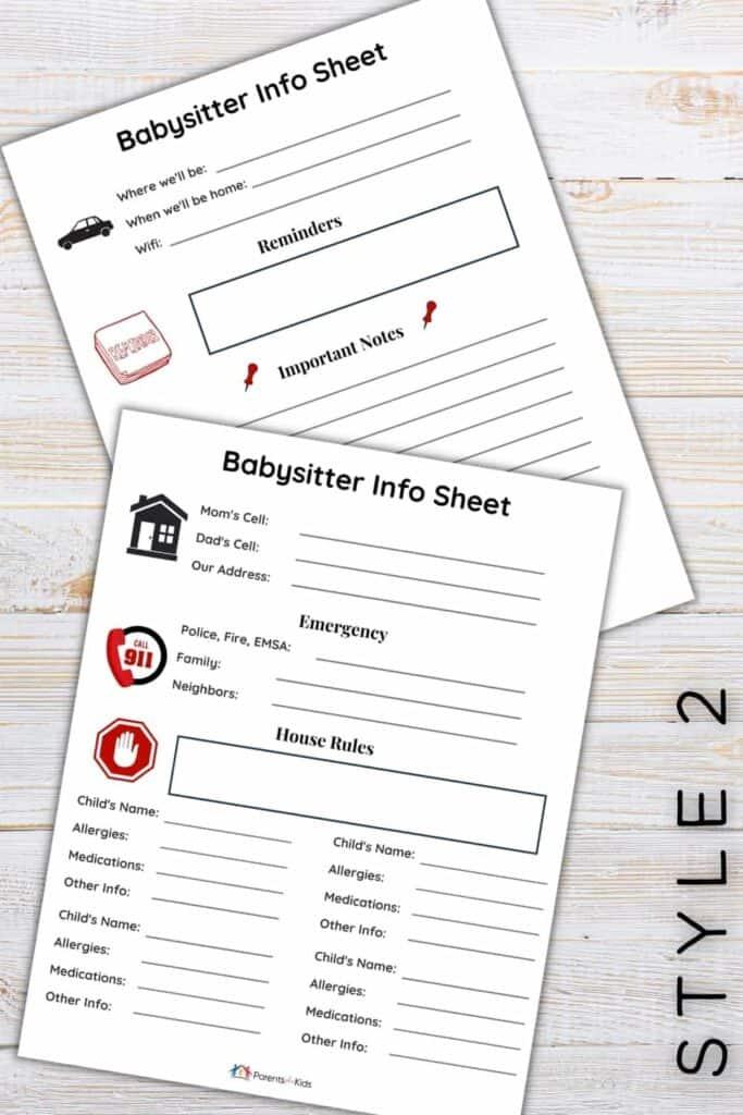a babysitter info sheet template