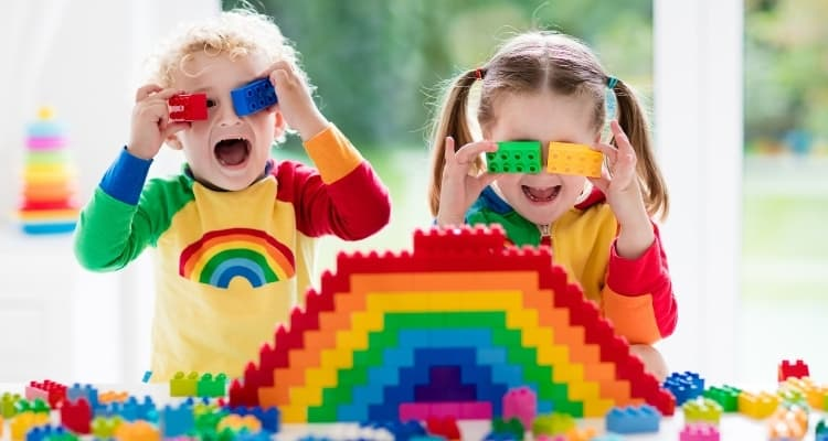 children playing with legos