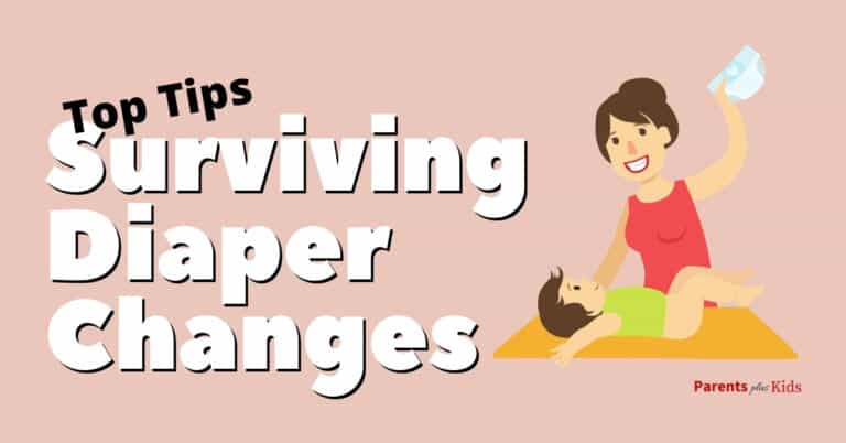 a mom changing a diaper