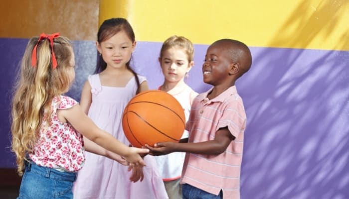 kids about to play basketball
