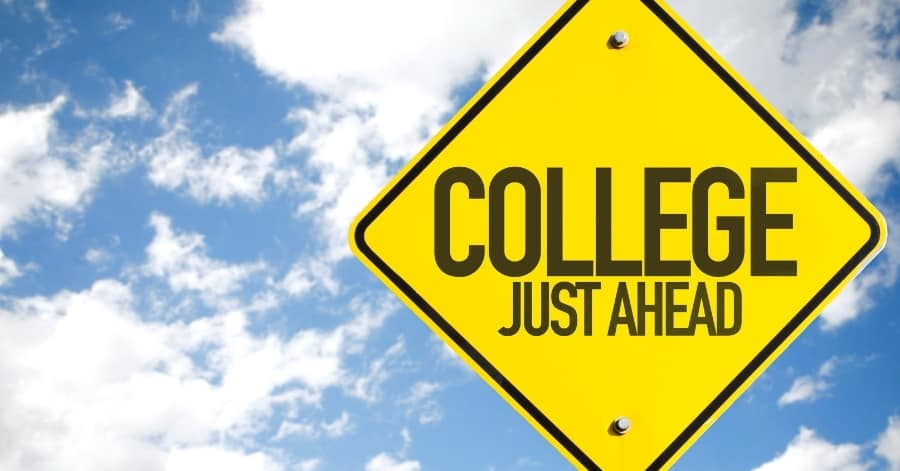 sign says college just ahead