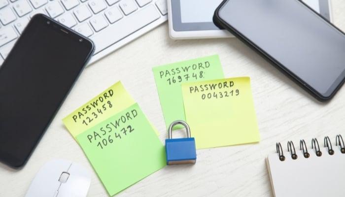 password written on table