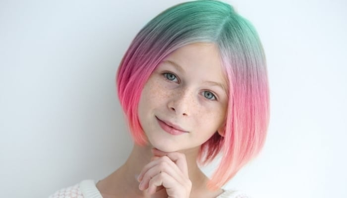 girl with pink green hair dyed