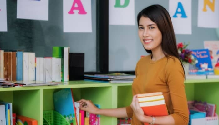 a teacher in her classroom